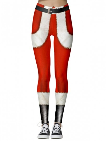 Red Christmas Print Elastic Waist High Waisted Long Legging