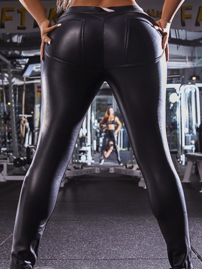 Black PU Leather Vinly Latex Pockets High Waisted Hip Sports Long Legging