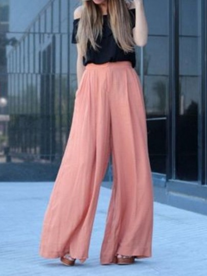 Pink Pockets High Waisted Fashion Wide Leg Long Pants