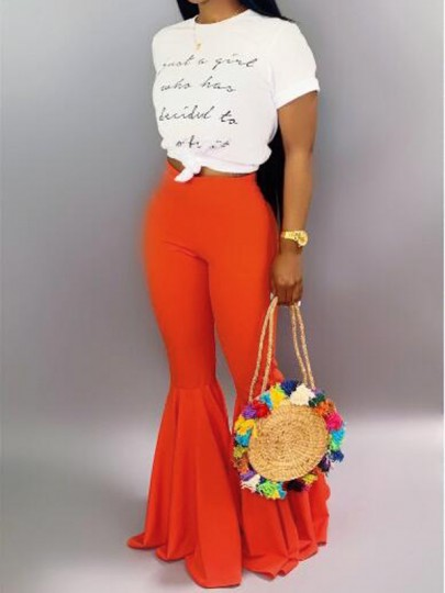 Red Draped High Waisted Extreme Flare Bell Bottom Vintage Long Pants