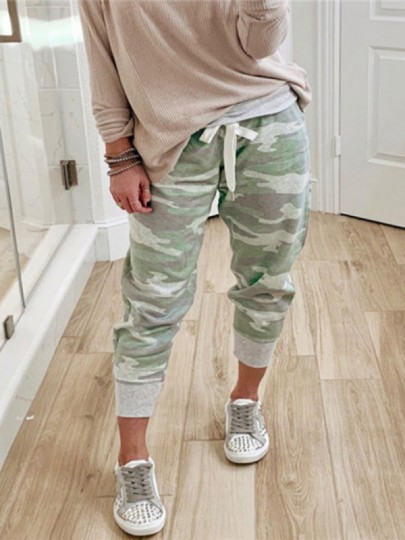 Grey Camouflage Print Casual Sports Workout Jogger Long Sweat Pants