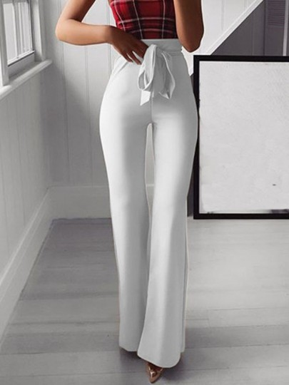 White Patchwork Sashes Bow Fashion Long Wide Leg Palazzo Pants