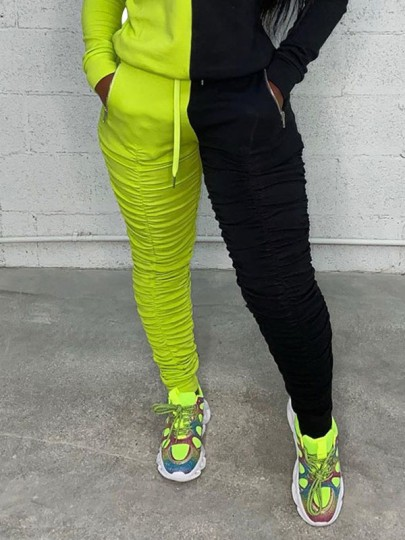 Green-Black Drawstring Pockets Zipper Scrunch Casual Sports High Waisted Long Pant