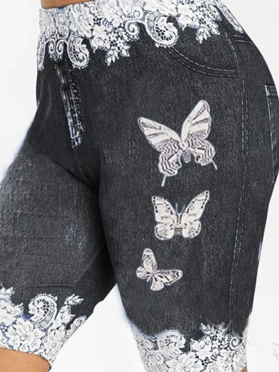 Black Butterfly Print Pockets Bodycon Casual Sports High Waisted Short Pant