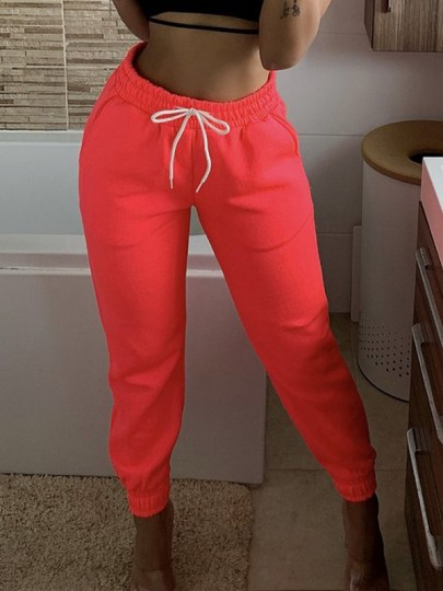 Red Drawstring Pockets Harem Casual Sports Workout Jogger Long Sweat Pants