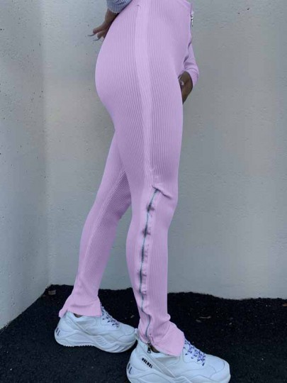 Purple Zipper Stacked Casual Sports High Waisted Bell Bottomed Flares Long Patn