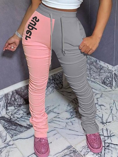 """Grey-Pink """"Super"""" Print Drawstring Pockets Pleated Stacked Scrunch High Waisted Casual Sports Long Pant"""