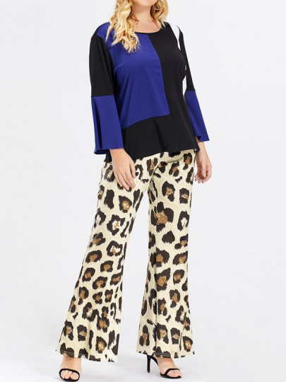 Brown Leopard Print High Waisted Bell Bottomed Flares Party Long Pant