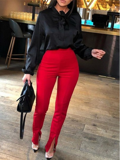 Red Irregular Slit High Waisted Fashion Pant