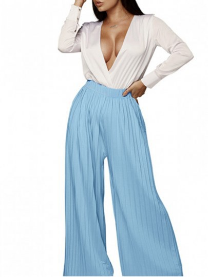 Light Blue Pleated Palazzo Pants High Waisted Wide Leg Casual Long Pants