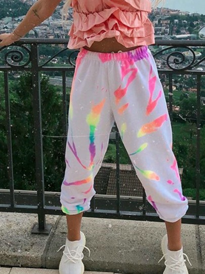 White Tie Dye Colorful Pattern Streetwear Loungewear Jogger Sweat Long Pants