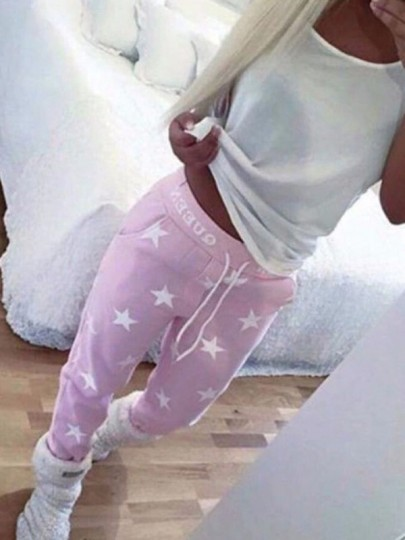 Pink Star Print Pocket Drawstring High Waisted Boyfriend Long Pants