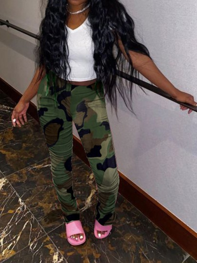Camouflage Sauce Tie Dyeing Pleated Casual High Waisted Scrunch Long Pant