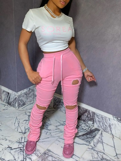 Pink Pockets Drawstring Waist High Waisted Ripped Destroyed Long Stacked Legging Pants