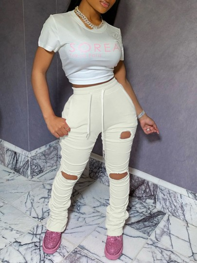 White Pockets Drawstring Waist High Waisted Ripped Destroyed Long Stacked Legging Pants