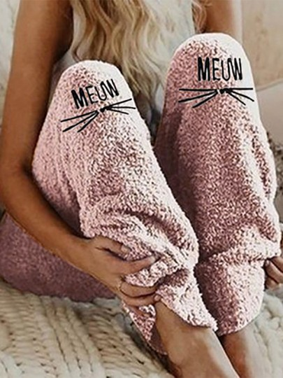 Pink Animal Embroidery New Fashion Latest Women Mid-rise Fashion Long Pants