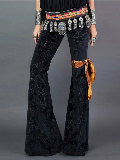 Black Bedazzled Floral Print High Waisted Flare Bell Bottom Long Pants