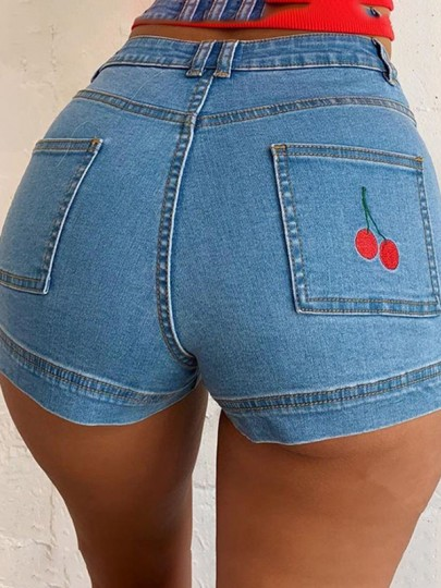 Blue Patchwork Cherry Print Pocket High Waisted Fashion Cute Jeans Shorts