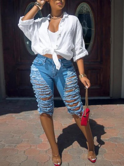 Blue Cut Out Ripped Destroyed Tassel High Waisted Short Jeans