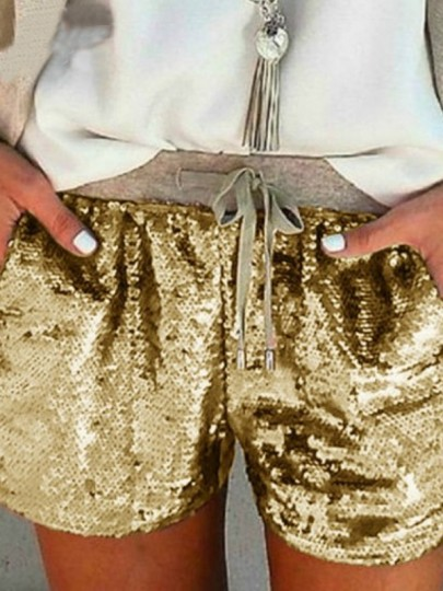 Golden Drawstring Sequin Glitter Sparkly High Waisted Shorts