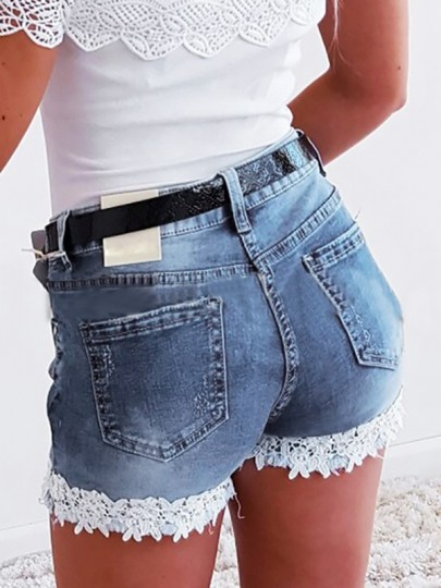 Light Blue Patchwork Lace Pocket High Waisted Fashion Shorts Jeans