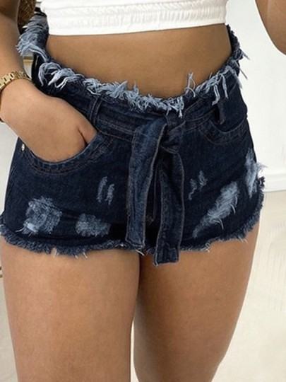 Dark Blue Sashes Pockets High Waisted Ripped Destroyed Short Jeans