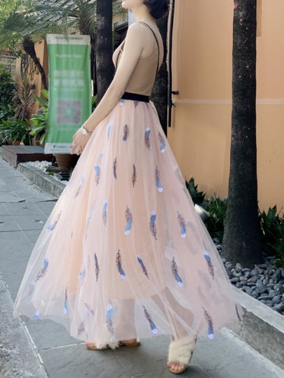 Pink Embroidery Pleated Grenadine Fluffy Puffy Tulle Flowy Elegant Skirt