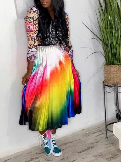 White Rainbow Striped Rasta Pride Pleated High Waisted Party Long Skirt