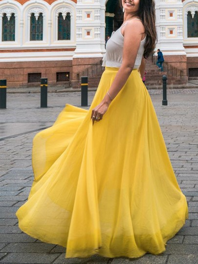 Yellow Patchwork High Waisted Grenadine Ankle Length Chiffon Skirt