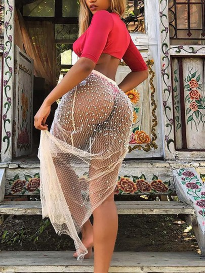 White Cut Out Patchwork Pearl Side Slit High Waisted Mesh Fishnet Sheer Clubwear Beach Cover Up Maxi Skirt