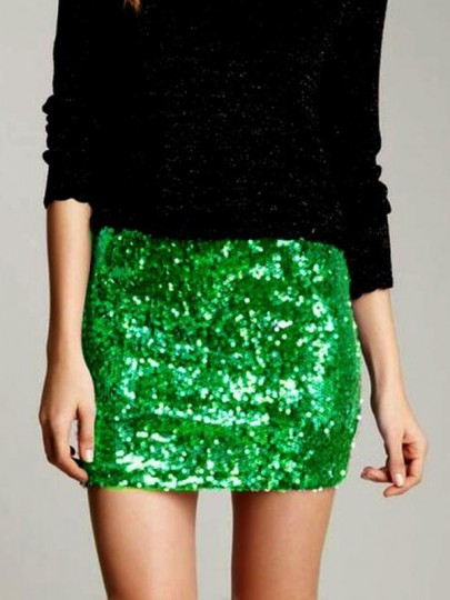 Green Sequin Glitter Sparkly High Waisted Plus Size Bodycon NYE Banquet Party Short Skirt