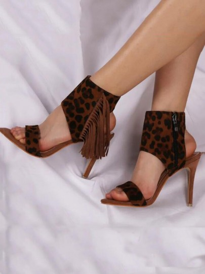 Brown Round Toe Stiletto Fashion Casual High-Heeled Sandals
