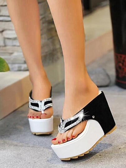 Black Round Toe Wedges Patchwork Rhinestone Fashion High-Heeled Sandals