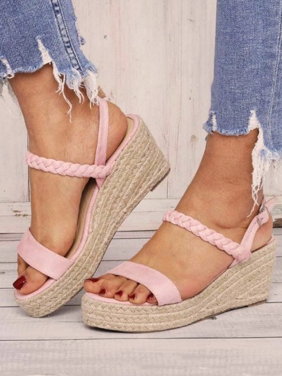 Pink Round Toe Wedges Fashion Sweet High-Heeled Sandals