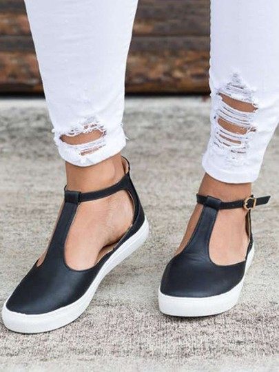 Black Round Toe Buckle Fashion Casual Flat Shoes
