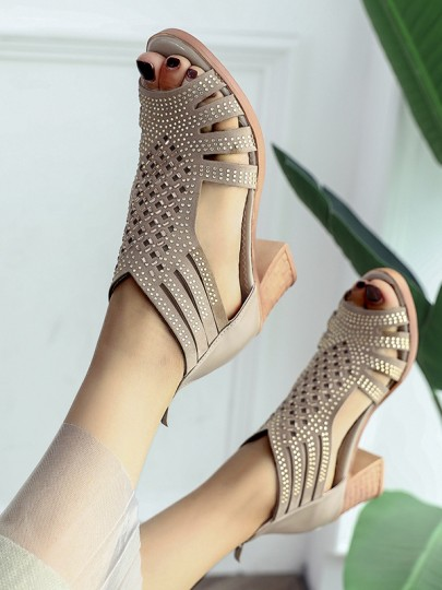Golden Round Toe Chunky Rhinestone Piscine Mouth Cut Out Fashion Mid-Heeled Sandals