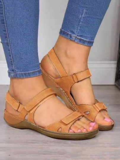 Brown Round Wedges Fashion Casual Sandals