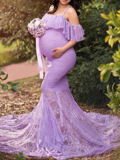 Purple Floral Lace Ruffle Spaghetti Strap Gender Reveal Mermaid Photoshoot Maternity Dress