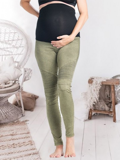Army Green Patchwork Pleated Slim High Waisted Fashion Maternity Pants