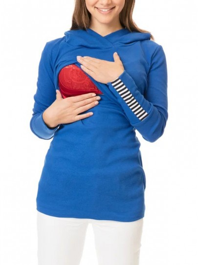 Blue Striped Print Hooded Long Sleeve Fashion Maternity Sweatshirt