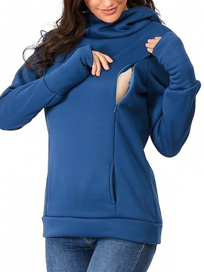 Blue Pockets Hooded Long Sleeve Fashion Maternity Sweatshirt