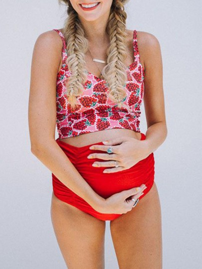 Red Grape Floral Print Cut Out Two Piece Maternity Swimwear