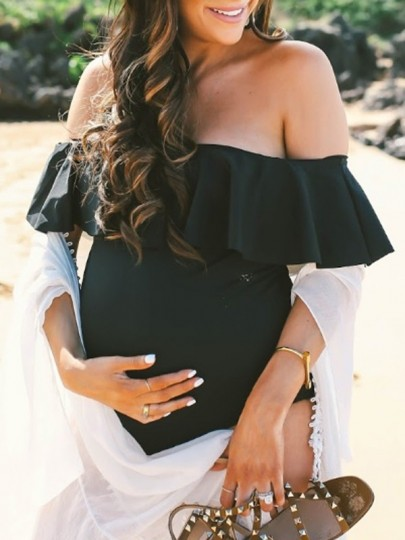 Black Off Shoulder Ruffle Maternity For Babyshowes Swimwear
