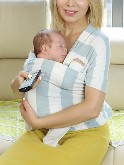 Blue Striped Knot Round Neck Sleeveless Casual Maternity Vest