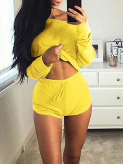 Yellow Off Shoulder Long Sleeve Two Piece Elastic Waist Cute Lounge Set Pajama