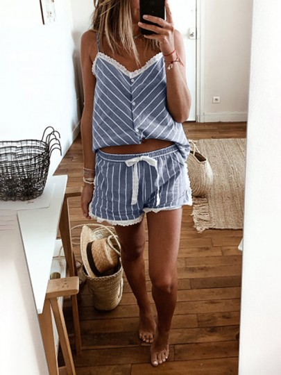 Blue Striped Lace Spaghetti Strap V-neck Fashion Sleepwear Pajama Sets