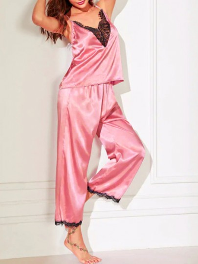 Pink Patchwork Shoulder-Strap Lace Cut Out V-neck Sleeveless Two Piece Cute Silk Pajama Sets