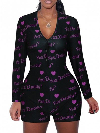 """Black """"YES DADDY"""" Print Buttons V-neck Long Sleeve Short Romper Pajama"""