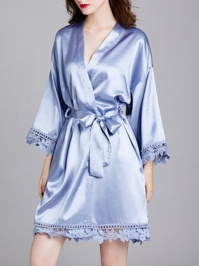 Blue Patchwork Lace Sashes Long Sleeve Satin Coat Sleepwear