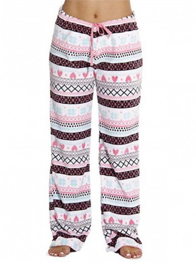 Pink Geometric Love Pattern Drawstring Fuzzy Wide Leg Palazzo Pajama Sleepwear Long Pants
